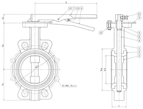 設計図 レバー式 10K(5K 共用)バタフライバルブ B−1−L