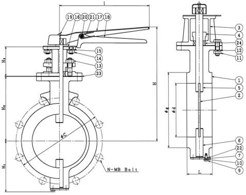 設計図 レバー式 10K(5K 共用)バタフライダンパー弁 B−7−L