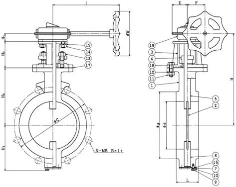 設計図 ウォームギア式 10K(5K 共用)バタフライダンパー弁 B−7−G