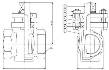 設計図 ネジ込みグランドコック 2方 B−70