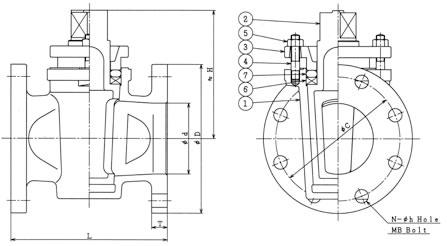 設計図 フランジタイプグランドコック 2方 B−62