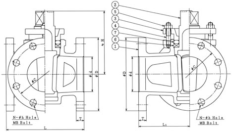設計図 フランジタイプグランドコック 3方 B−66