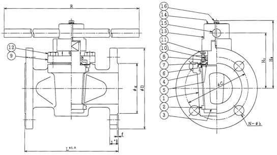 設計図 シートスリーブテフロンプラグバルブ P-68