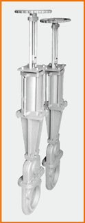 カバー付ナイフゲートバルブ 手動兼エアーシリンダー操作 トップハンドル S−8003